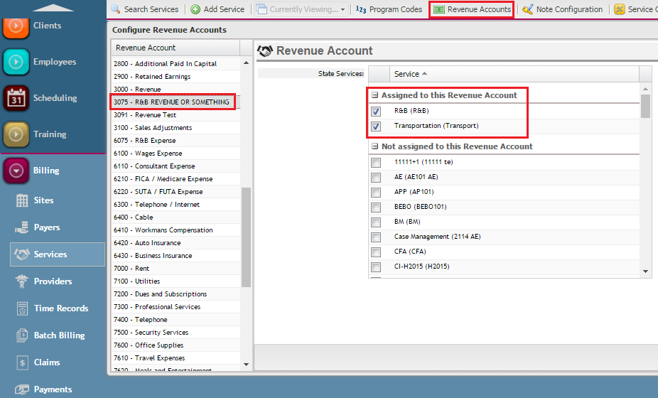 How to Assign Services to Revenue Accounts